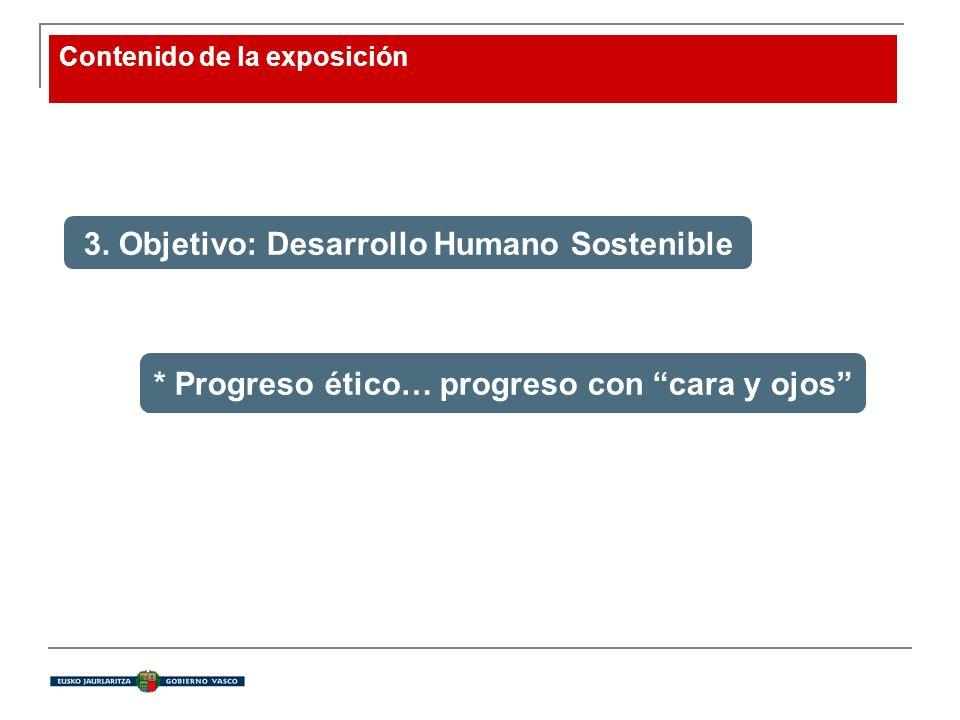 Contenido de la exposición 3. Objetivo: Desarrollo Humano Sostenible * Progreso ético… progreso con cara y ojos