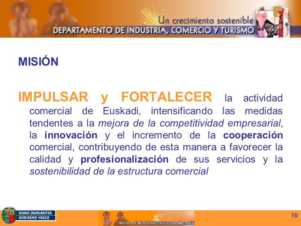 10 MISIÓN IMPULSAR y FORTALECER la actividad comercial de Euskadi, intensificando las medidas tendentes a la mejora de la competitividad empresarial, la innovación y el incremento de la cooperación comercial, contribuyendo de esta manera a favorecer la calidad y profesionalización de sus servicios y la sostenibilidad de la estructura comercial