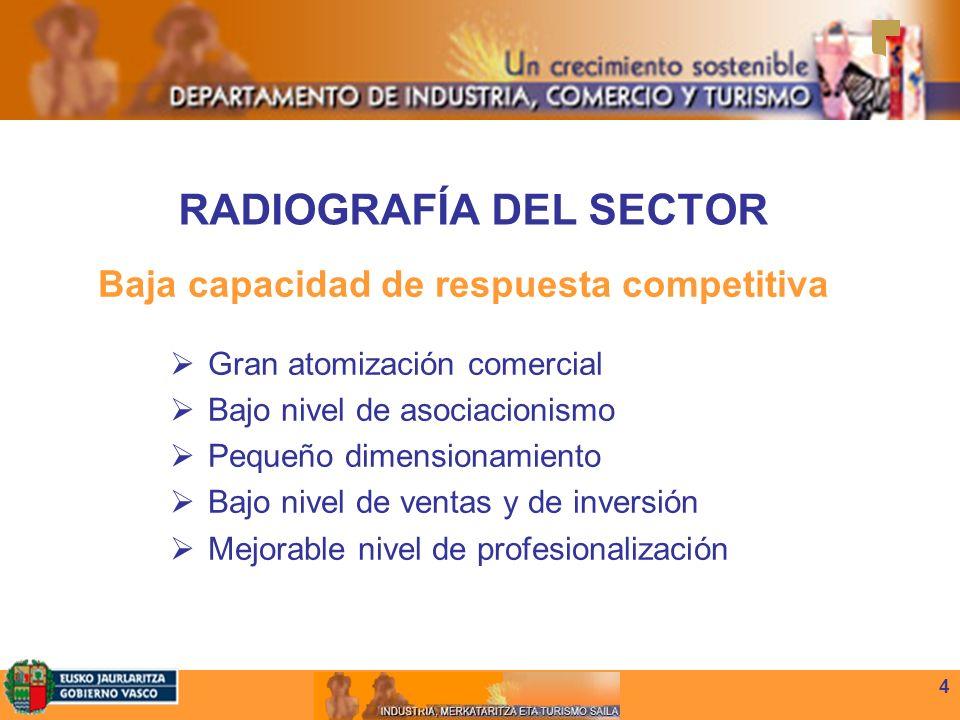 4 RADIOGRAFÍA DEL SECTOR Baja capacidad de respuesta competitiva Gran atomización comercial Bajo nivel de asociacionismo Pequeño dimensionamiento Bajo nivel de ventas y de inversión Mejorable nivel de profesionalización