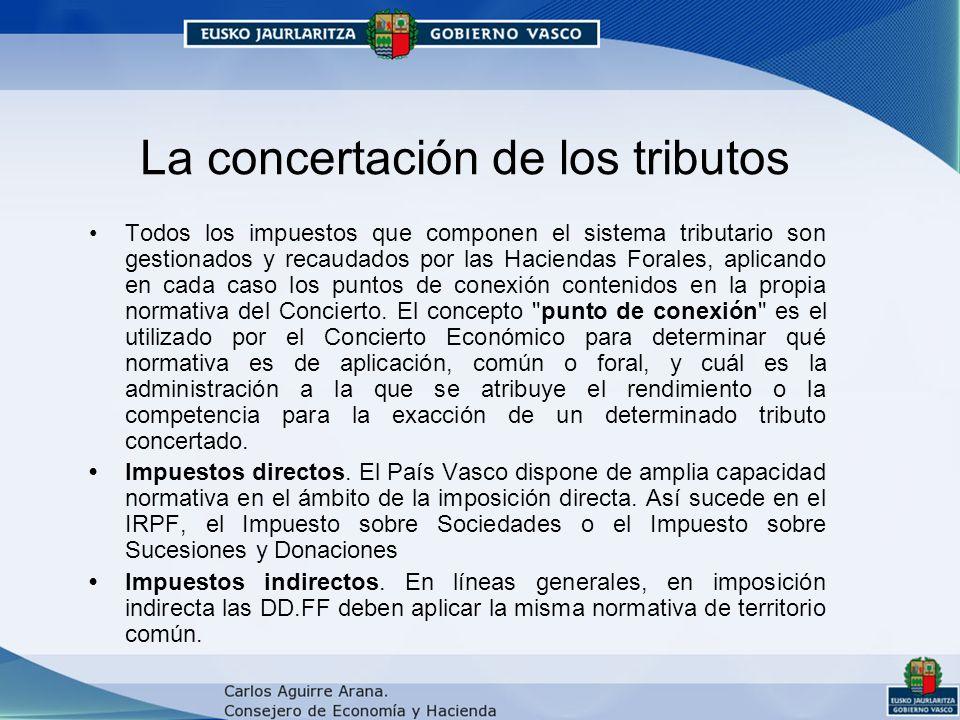 La concertación de los tributos Todos los impuestos que componen el sistema tributario son gestionados y recaudados por las Haciendas Forales, aplicando en cada caso los puntos de conexión contenidos en la propia normativa del Concierto.