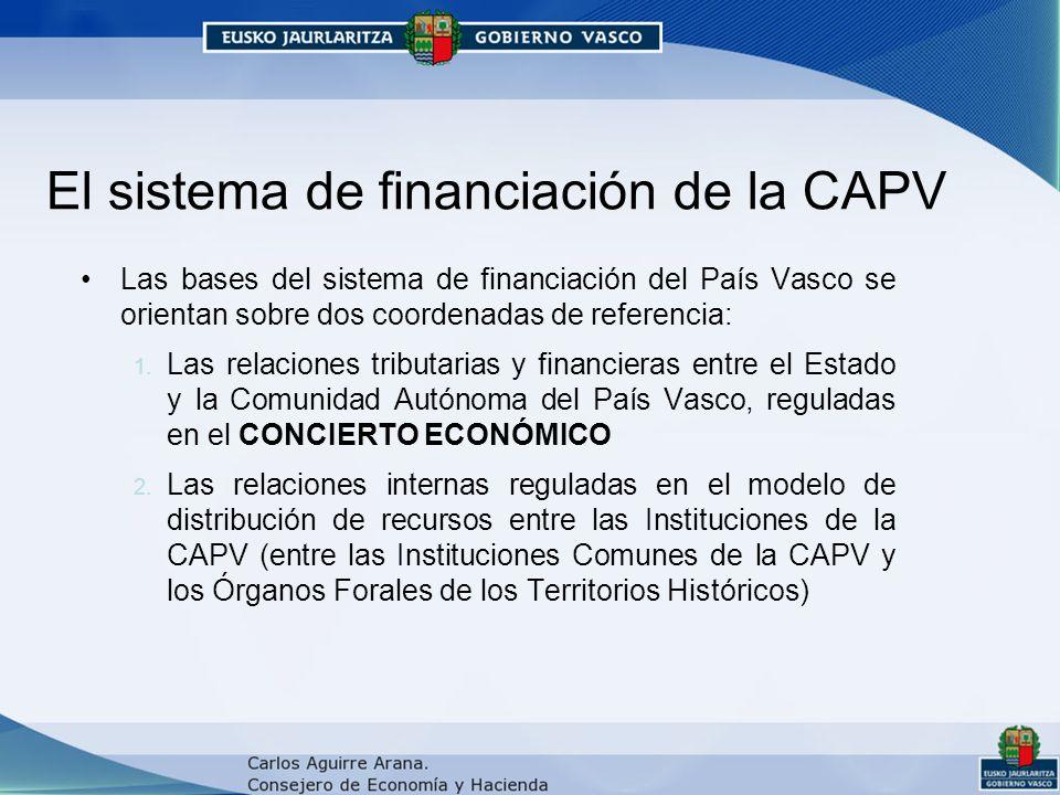 El sistema de financiación de la CAPV Las bases del sistema de financiación del País Vasco se orientan sobre dos coordenadas de referencia: 1.