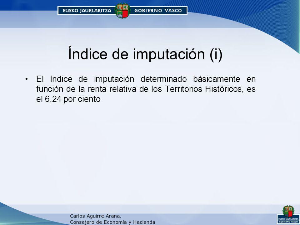 Índice de imputación (i) El índice de imputación determinado básicamente en función de la renta relativa de los Territorios Históricos, es el 6,24 por ciento