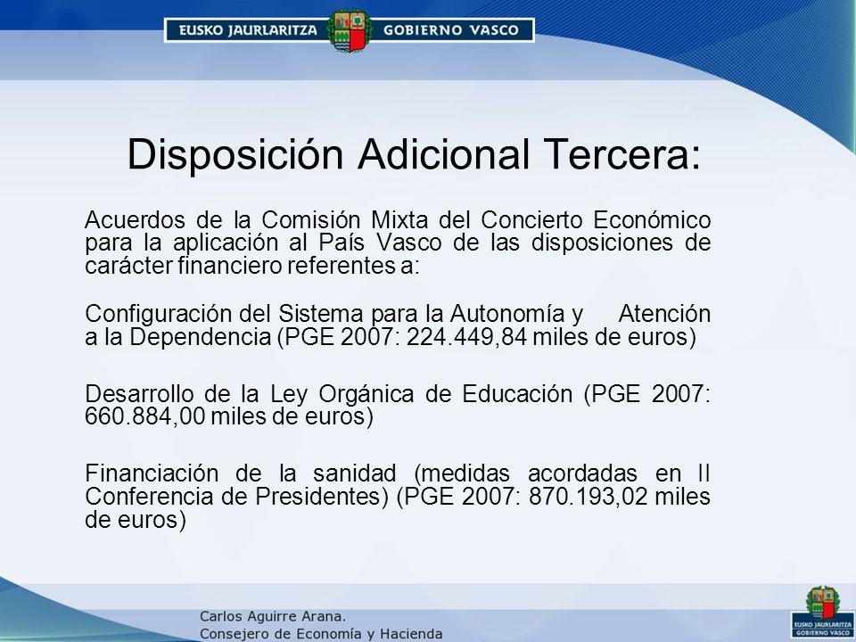 Disposición Adicional Tercera: Acuerdos de la Comisión Mixta del Concierto Económico para la aplicación al País Vasco de las disposiciones de carácter financiero referentes a: Configuración del Sistema para la Autonomía y Atención a la Dependencia (PGE 2007: 224.449,84 miles de euros) Desarrollo de la Ley Orgánica de Educación (PGE 2007: 660.884,00 miles de euros) Financiación de la sanidad (medidas acordadas en II Conferencia de Presidentes) (PGE 2007: 870.193,02 miles de euros)
