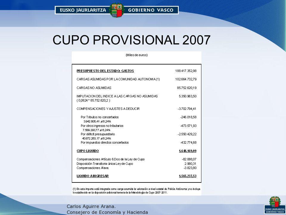 CUPO PROVISIONAL 2007