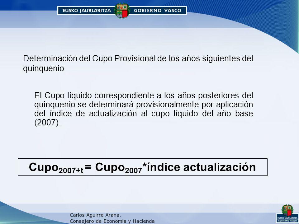 Determinación del Cupo Provisional de los años siguientes del quinquenio El Cupo líquido correspondiente a los años posteriores del quinquenio se determinará provisionalmente por aplicación del índice de actualización al cupo líquido del año base (2007).