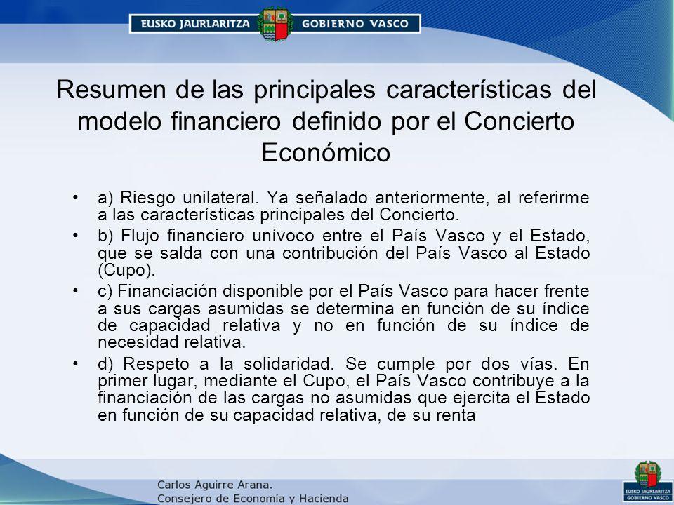 Resumen de las principales características del modelo financiero definido por el Concierto Económico a) Riesgo unilateral.