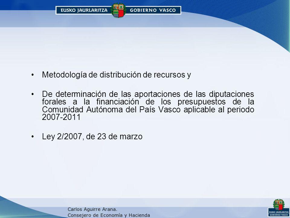 Metodología de distribución de recursos y De determinación de las aportaciones de las diputaciones forales a la financiación de los presupuestos de la Comunidad Autónoma del País Vasco aplicable al periodo 2007-2011 Ley 2/2007, de 23 de marzo