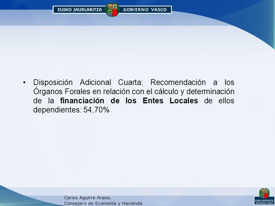 Disposición Adicional Cuarta: Recomendación a los Órganos Forales en relación con el cálculo y determinación de la financiación de los Entes Locales de ellos dependientes: 54,70%