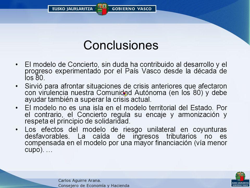 Conclusiones El modelo de Concierto, sin duda ha contribuido al desarrollo y el progreso experimentado por el País Vasco desde la década de los 80.