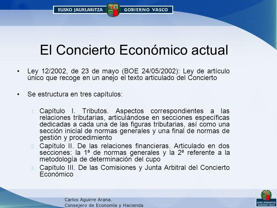 El Concierto Económico actual Ley 12/2002, de 23 de mayo (BOE 24/05/2002): Ley de artículo único que recoge en un anejo el texto articulado del Concierto Se estructura en tres capítulos: 1.