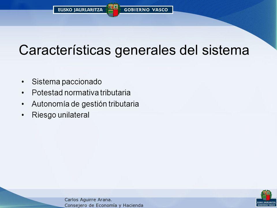 Características generales del sistema Sistema paccionado Potestad normativa tributaria Autonomía de gestión tributaria Riesgo unilateral