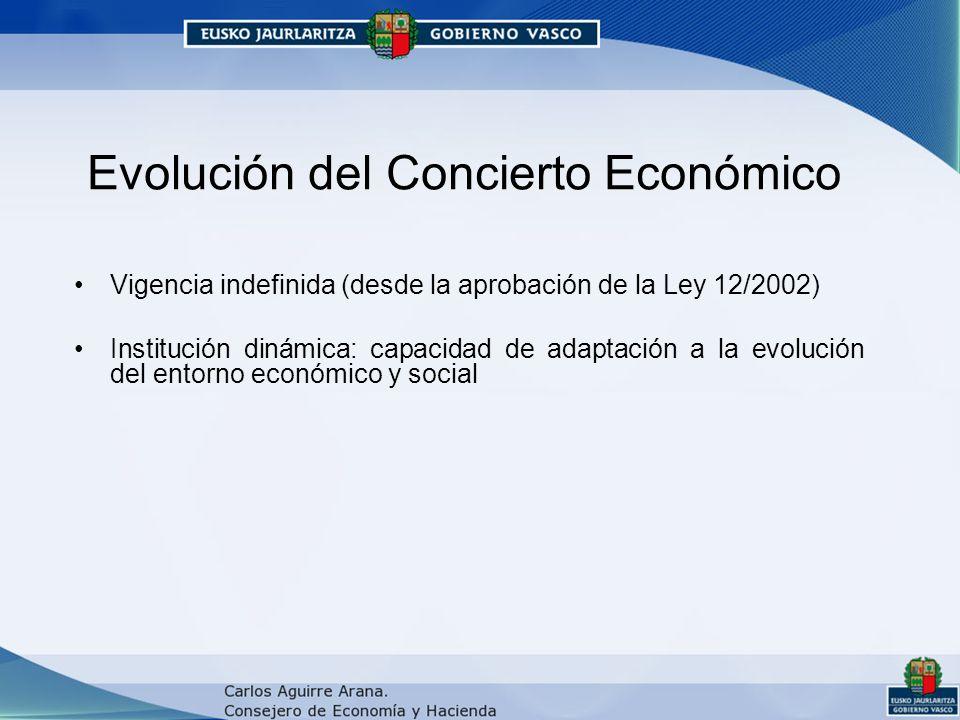 Evolución del Concierto Económico Vigencia indefinida (desde la aprobación de la Ley 12/2002) Institución dinámica: capacidad de adaptación a la evolución del entorno económico y social
