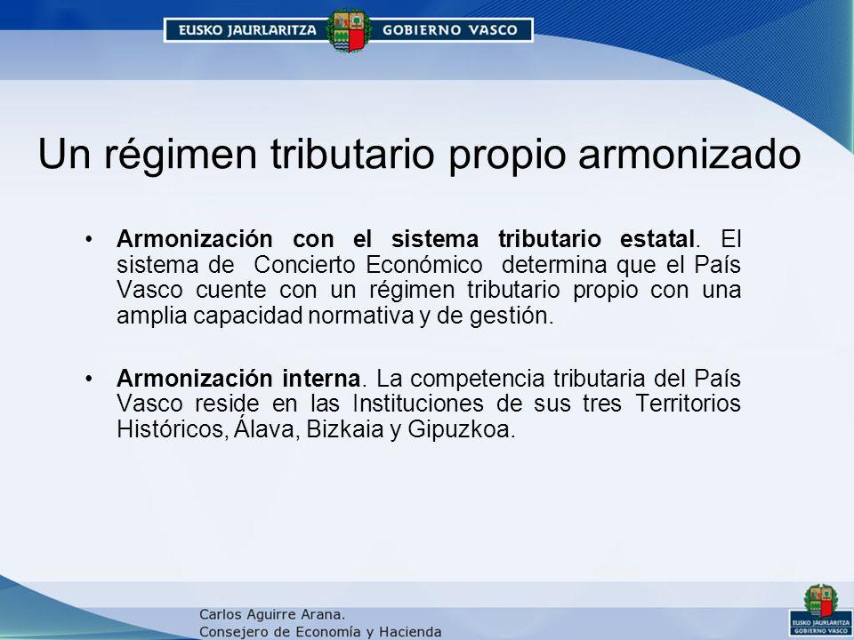 Un régimen tributario propio armonizado Armonización con el sistema tributario estatal.