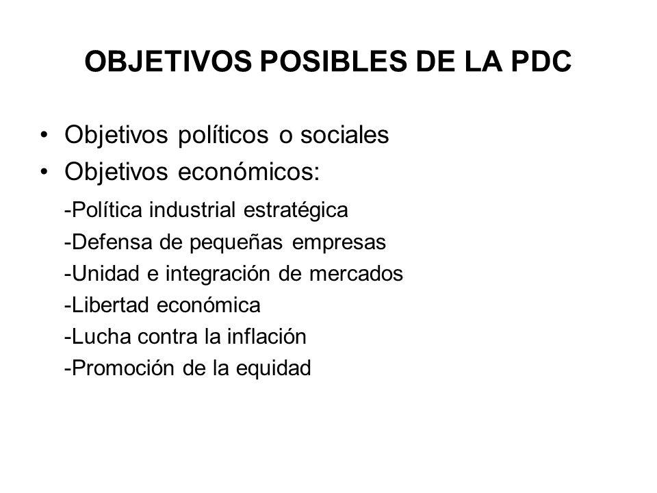 OBJETIVOS POSIBLES DE LA PDC Objetivos políticos o sociales Objetivos económicos: -Política industrial estratégica -Defensa de pequeñas empresas -Unid