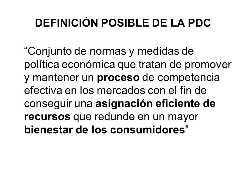 DEFINICIÓN POSIBLE DE LA PDC Conjunto de normas y medidas de política económica que tratan de promover y mantener un proceso de competencia efectiva e