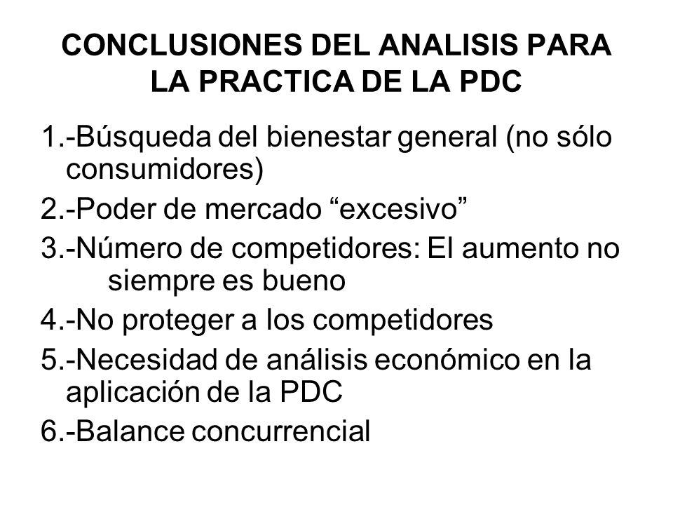 CONCLUSIONES DEL ANALISIS PARA LA PRACTICA DE LA PDC 1.-Búsqueda del bienestar general (no sólo consumidores) 2.-Poder de mercado excesivo 3.-Número d