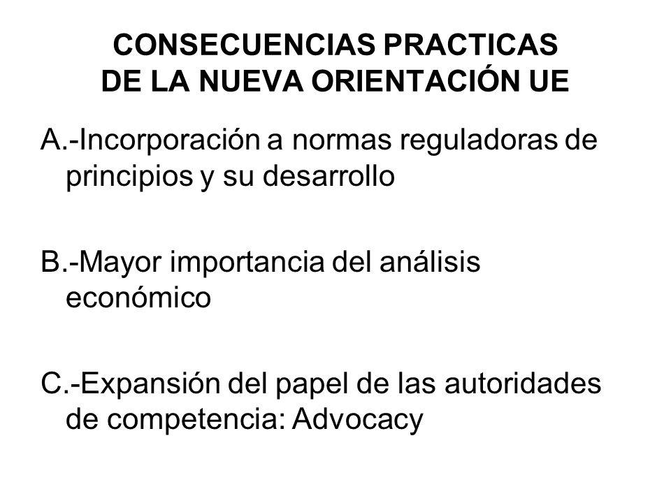 CONSECUENCIAS PRACTICAS DE LA NUEVA ORIENTACIÓN UE A.-Incorporación a normas reguladoras de principios y su desarrollo B.-Mayor importancia del anális