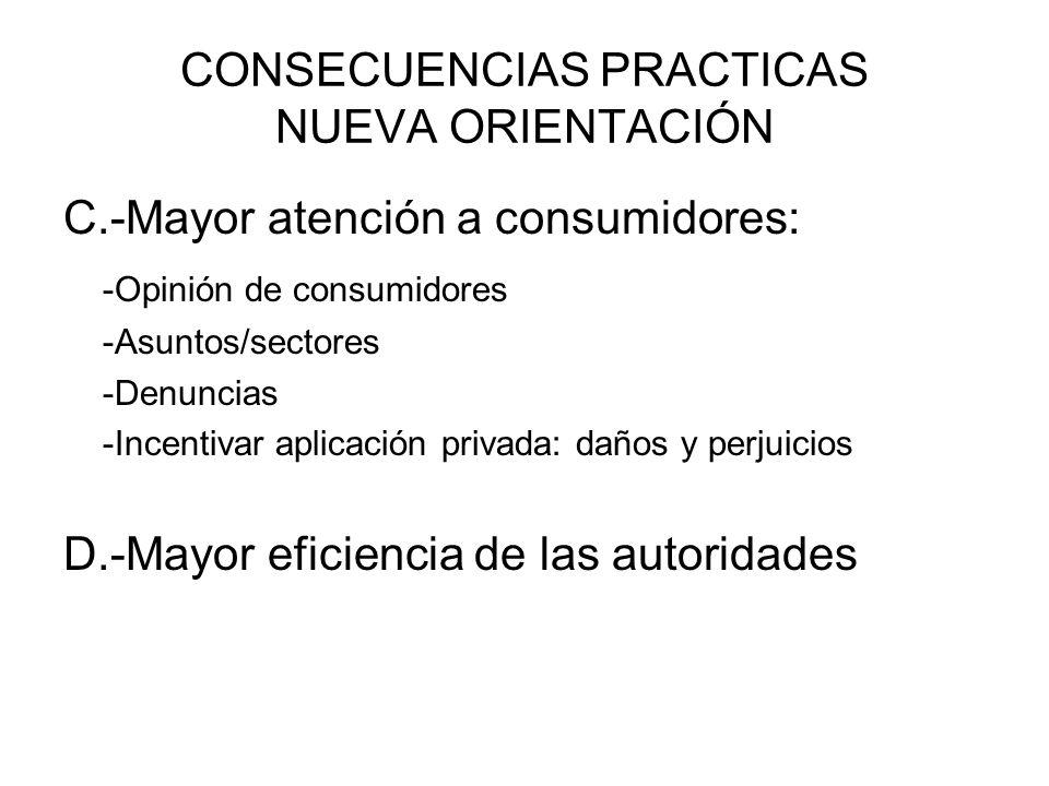CONSECUENCIAS PRACTICAS NUEVA ORIENTACIÓN C.-Mayor atención a consumidores: -Opinión de consumidores -Asuntos/sectores -Denuncias -Incentivar aplicaci