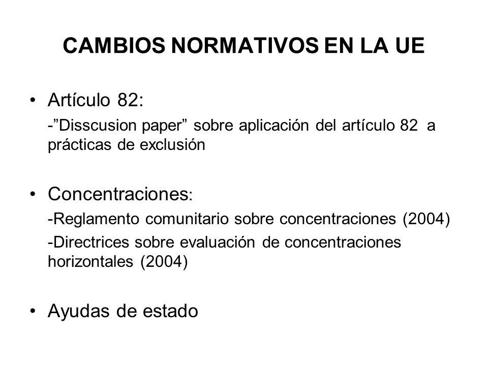 CAMBIOS NORMATIVOS EN LA UE Artículo 82: -Disscusion paper sobre aplicación del artículo 82 a prácticas de exclusión Concentraciones : -Reglamento com