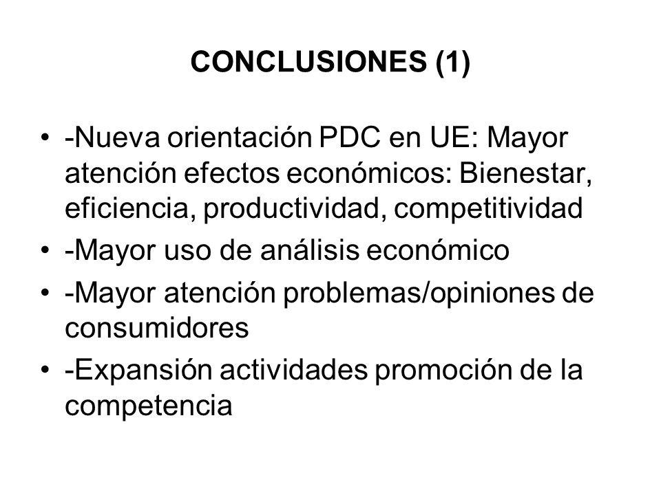 CONCLUSIONES (1) -Nueva orientación PDC en UE: Mayor atención efectos económicos: Bienestar, eficiencia, productividad, competitividad -Mayor uso de a