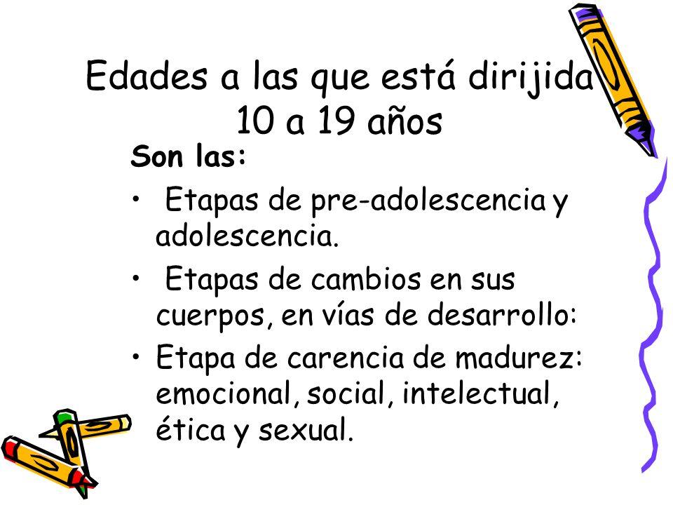 Edades a las que está dirijida 10 a 19 años Son las: Etapas de pre-adolescencia y adolescencia. Etapas de cambios en sus cuerpos, en vías de desarroll