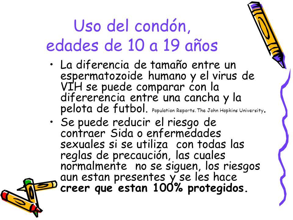 Uso del condón, edades de 10 a 19 años La diferencia de tamaño entre un espermatozoide humano y el virus de VIH se puede comparar con la difererencia