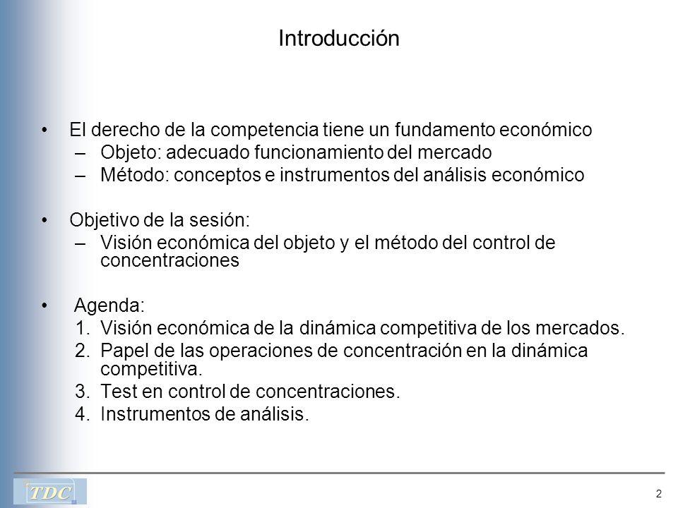 2 Introducción El derecho de la competencia tiene un fundamento económico –Objeto: adecuado funcionamiento del mercado –Método: conceptos e instrument