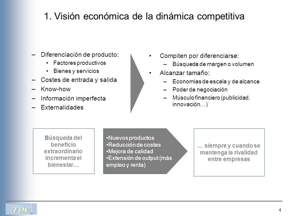 4 1. Visión económica de la dinámica competitiva –Diferenciación de producto: Factores productivos Bienes y servicios –Costes de entrada y salida –Kno