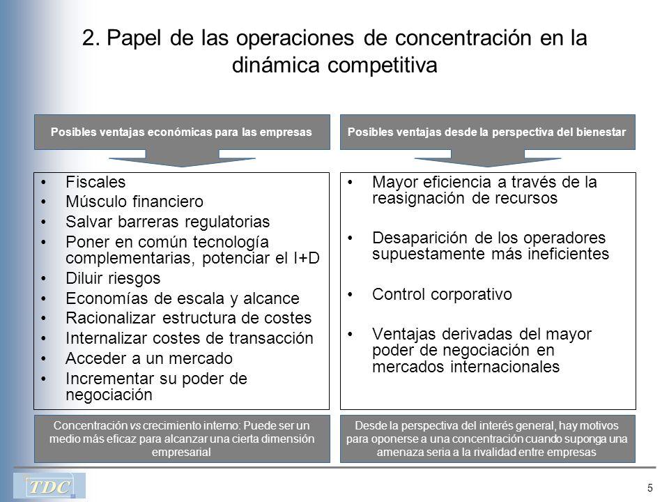 5 2. Papel de las operaciones de concentración en la dinámica competitiva Fiscales Músculo financiero Salvar barreras regulatorias Poner en común tecn
