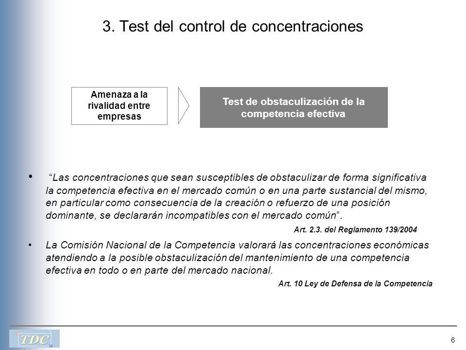 6 3. Test del control de concentraciones Las concentraciones que sean susceptibles de obstaculizar de forma significativa la competencia efectiva en e