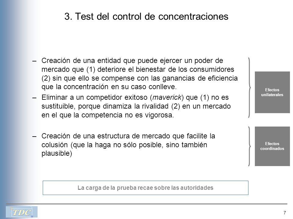 7 3. Test del control de concentraciones –Creación de una entidad que puede ejercer un poder de mercado que (1) deteriore el bienestar de los consumid