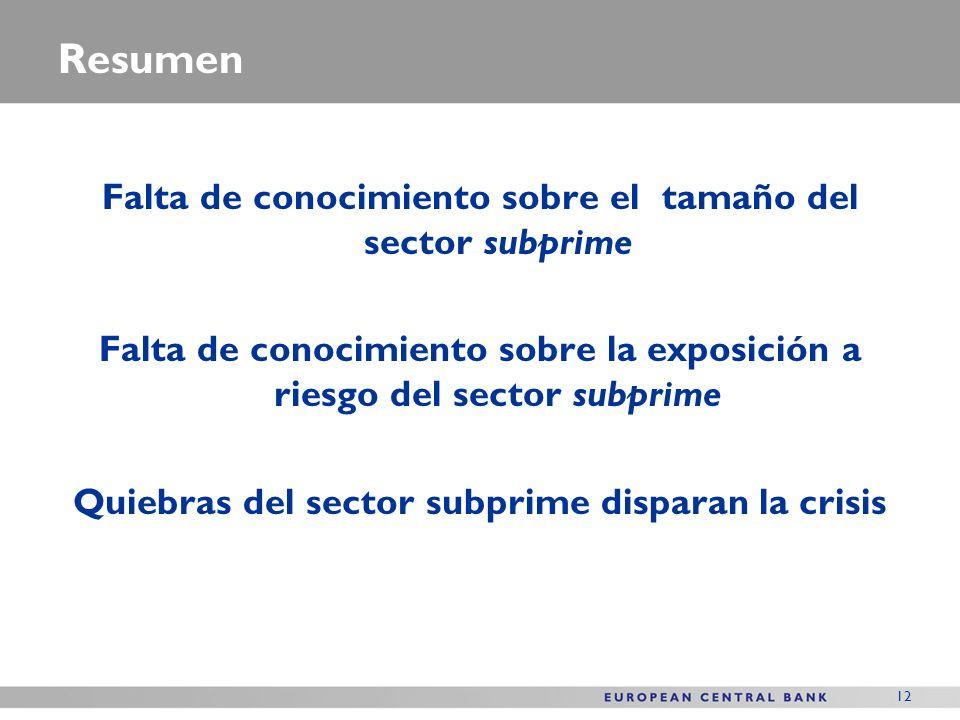12 Resumen Falta de conocimiento sobre el tamaño del sector subprime Falta de conocimiento sobre la exposición a riesgo del sector subprime Quiebras del sector subprime disparan la crisis