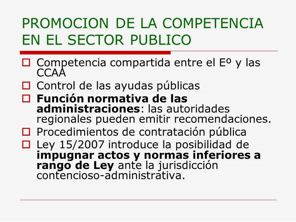 PROMOCION DE LA COMPETENCIA EN EL SECTOR PUBLICO Competencia compartida entre el Eº y las CCAA Control de las ayudas públicas Función normativa de las administraciones: las autoridades regionales pueden emitir recomendaciones.