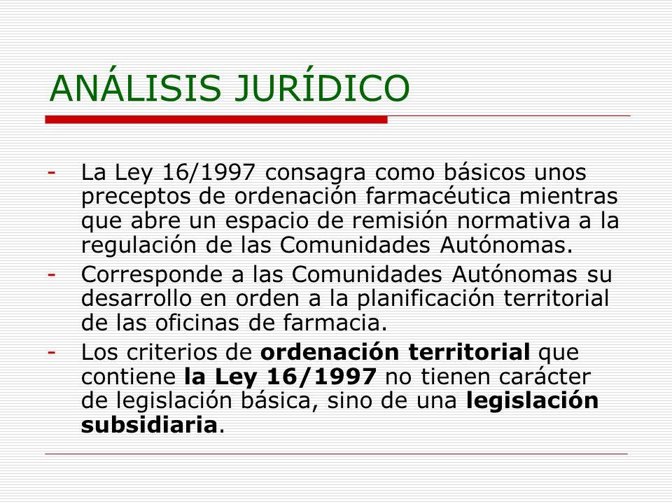 ANÁLISIS JURÍDICO -La Ley 16/1997 consagra como básicos unos preceptos de ordenación farmacéutica mientras que abre un espacio de remisión normativa a la regulación de las Comunidades Autónomas.
