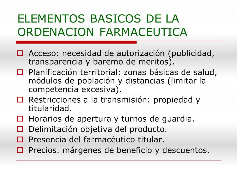 ELEMENTOS BASICOS DE LA ORDENACION FARMACEUTICA Acceso: necesidad de autorización (publicidad, transparencia y baremo de meritos). Planificación terri