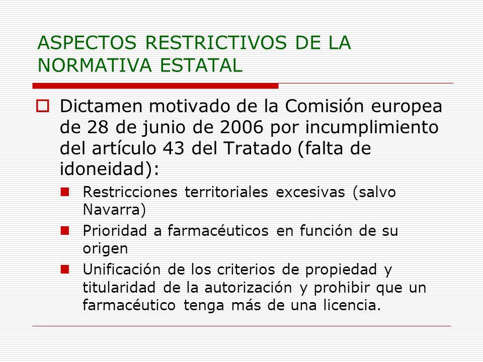 ASPECTOS RESTRICTIVOS DE LA NORMATIVA ESTATAL Dictamen motivado de la Comisión europea de 28 de junio de 2006 por incumplimiento del artículo 43 del Tratado (falta de idoneidad): Restricciones territoriales excesivas (salvo Navarra) Prioridad a farmacéuticos en función de su origen Unificación de los criterios de propiedad y titularidad de la autorización y prohibir que un farmacéutico tenga más de una licencia.
