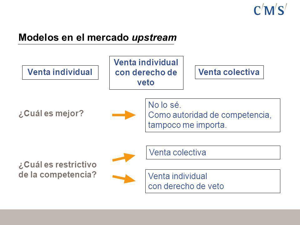Modelos en el mercado upstream Venta individual Venta individual con derecho de veto Venta colectiva ¿Cuál es mejor.