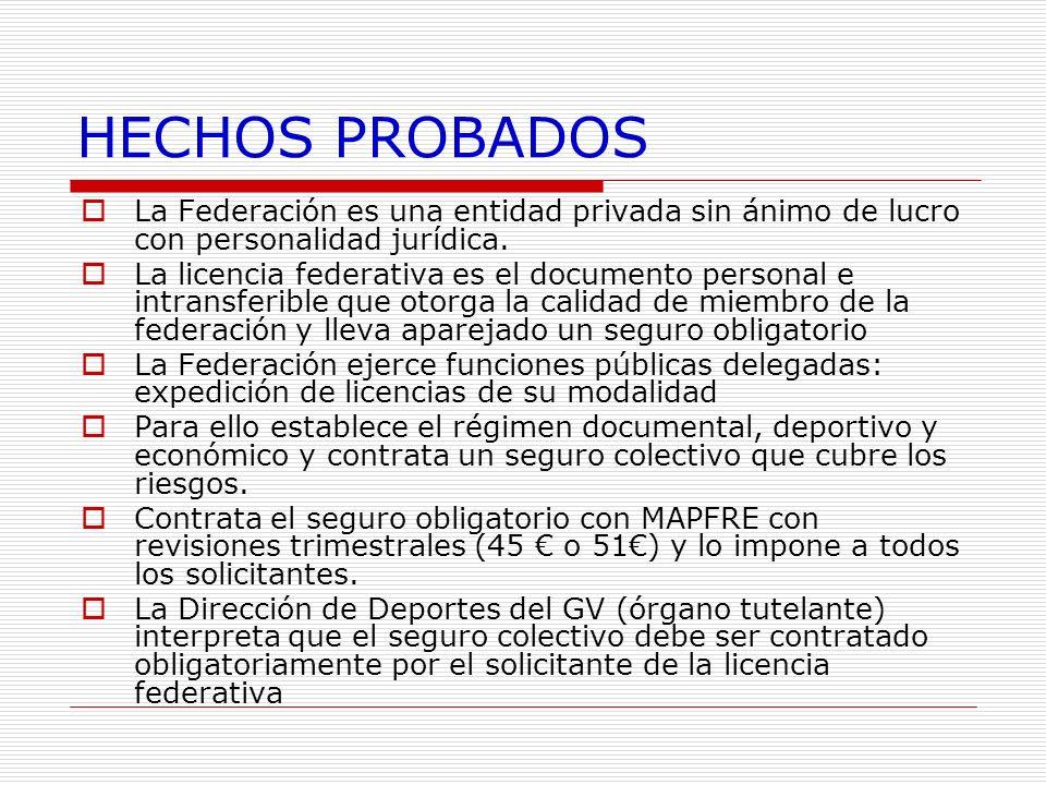 HECHOS PROBADOS La Federación es una entidad privada sin ánimo de lucro con personalidad jurídica. La licencia federativa es el documento personal e i