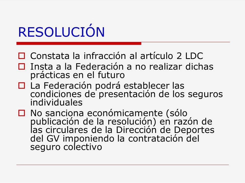 RESOLUCIÓN Constata la infracción al artículo 2 LDC Insta a la Federación a no realizar dichas prácticas en el futuro La Federación podrá establecer l