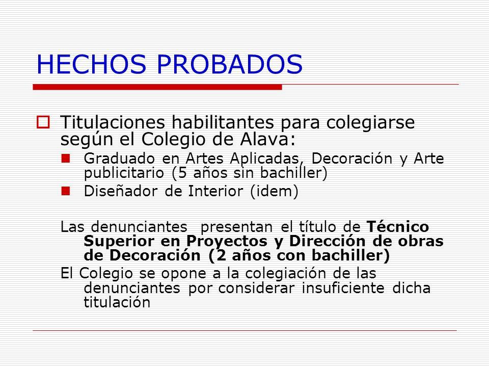HECHOS PROBADOS Titulaciones habilitantes para colegiarse según el Colegio de Alava: Graduado en Artes Aplicadas, Decoración y Arte publicitario (5 añ