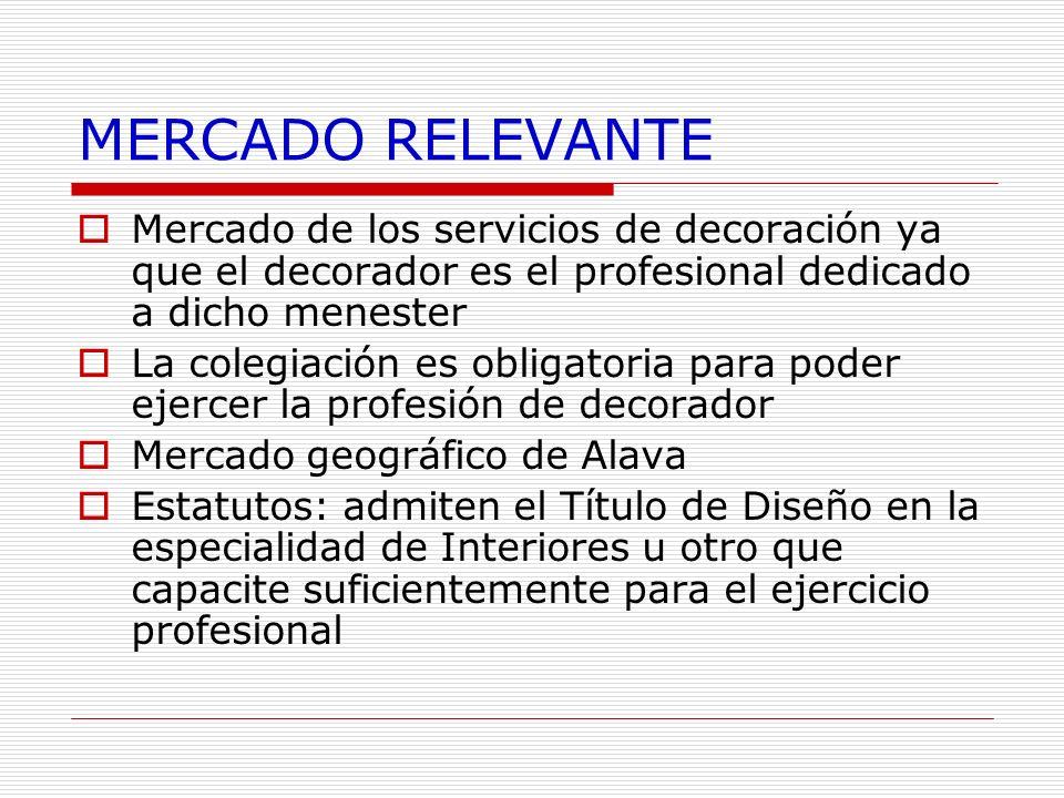 MERCADO RELEVANTE Mercado de los servicios de decoración ya que el decorador es el profesional dedicado a dicho menester La colegiación es obligatoria