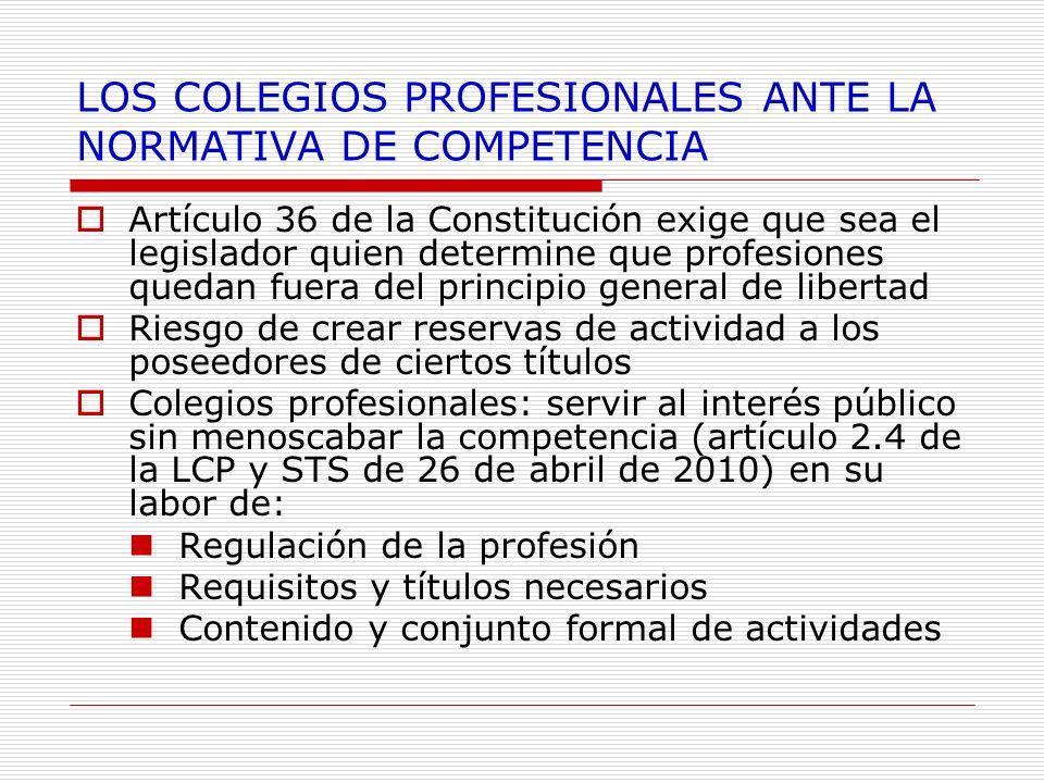 LOS COLEGIOS PROFESIONALES ANTE LA NORMATIVA DE COMPETENCIA Artículo 36 de la Constitución exige que sea el legislador quien determine que profesiones