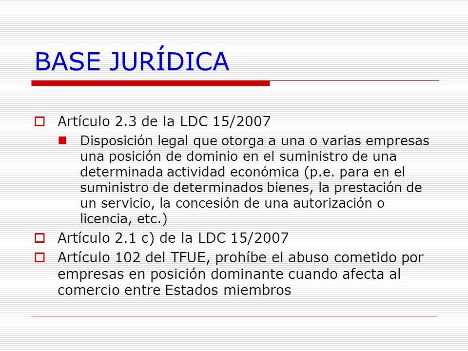 BASE JURÍDICA Artículo 2.3 de la LDC 15/2007 Disposición legal que otorga a una o varias empresas una posición de dominio en el suministro de una dete
