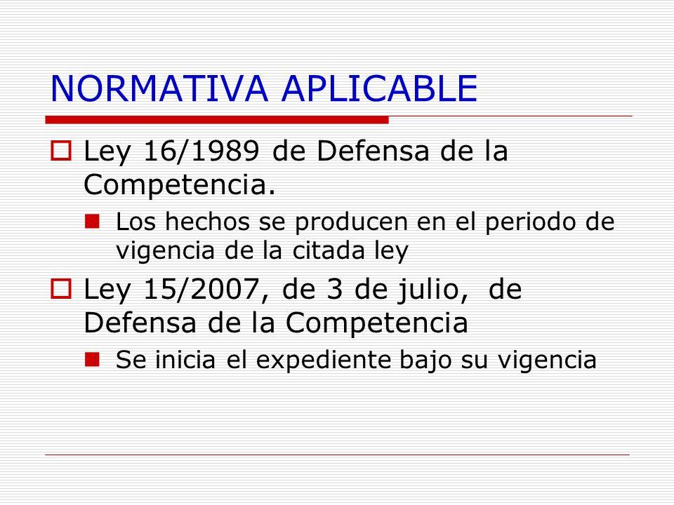 NORMATIVA APLICABLE Ley 16/1989 de Defensa de la Competencia. Los hechos se producen en el periodo de vigencia de la citada ley Ley 15/2007, de 3 de j