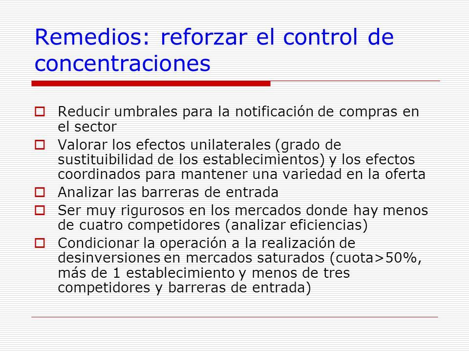 Remedios: reforzar el control de concentraciones Reducir umbrales para la notificación de compras en el sector Valorar los efectos unilaterales (grado