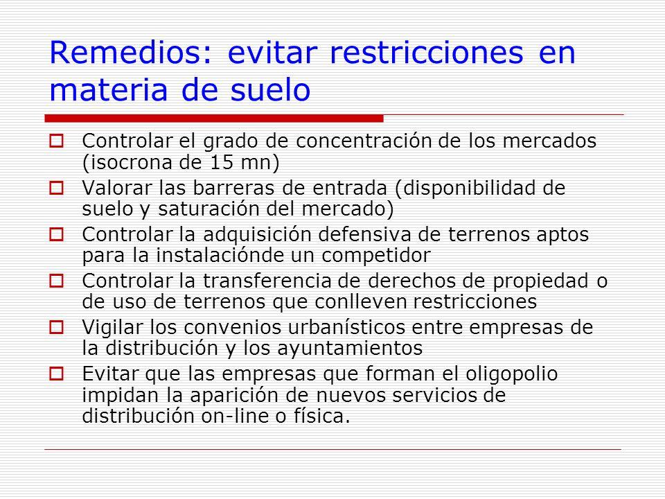 Remedios: evitar restricciones en materia de suelo Controlar el grado de concentración de los mercados (isocrona de 15 mn) Valorar las barreras de ent