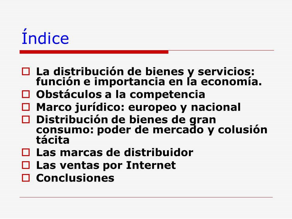 Índice La distribución de bienes y servicios: función e importancia en la economía. Obstáculos a la competencia Marco jurídico: europeo y nacional Dis