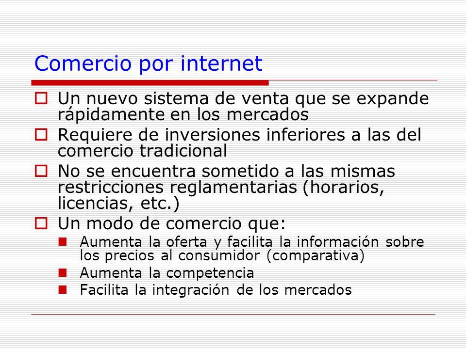 Comercio por internet Un nuevo sistema de venta que se expande rápidamente en los mercados Requiere de inversiones inferiores a las del comercio tradi