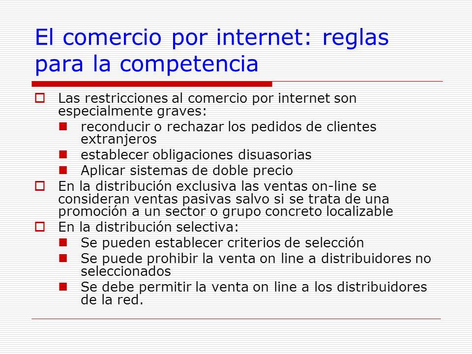 El comercio por internet: reglas para la competencia Las restricciones al comercio por internet son especialmente graves: reconducir o rechazar los pe