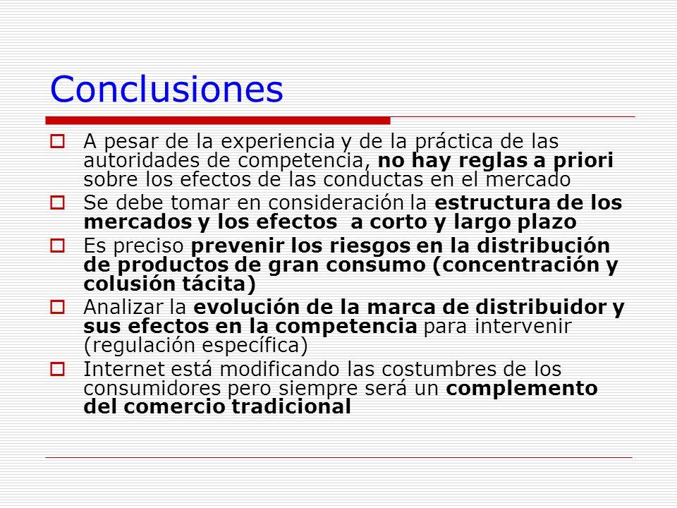 Conclusiones A pesar de la experiencia y de la práctica de las autoridades de competencia, no hay reglas a priori sobre los efectos de las conductas e
